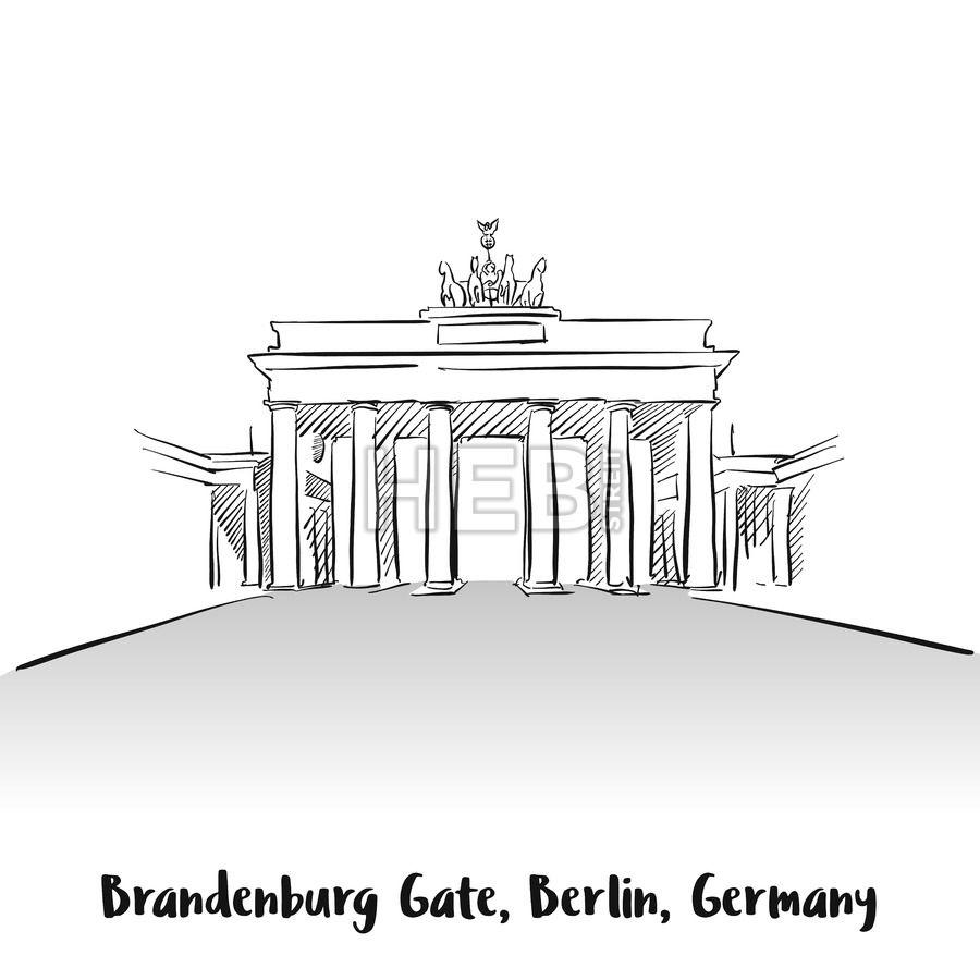 Brandenburg Gate Berlin Greeting Card  HEBSTREITS Sketches
