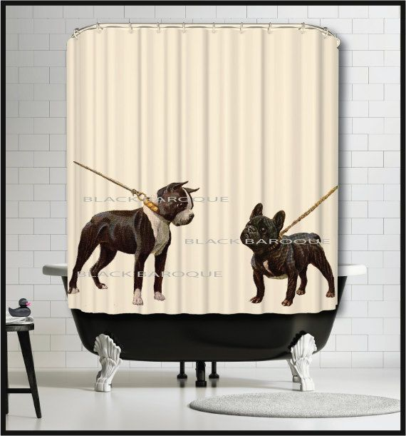 Boston Terrier French Bulldog Shower Curtain