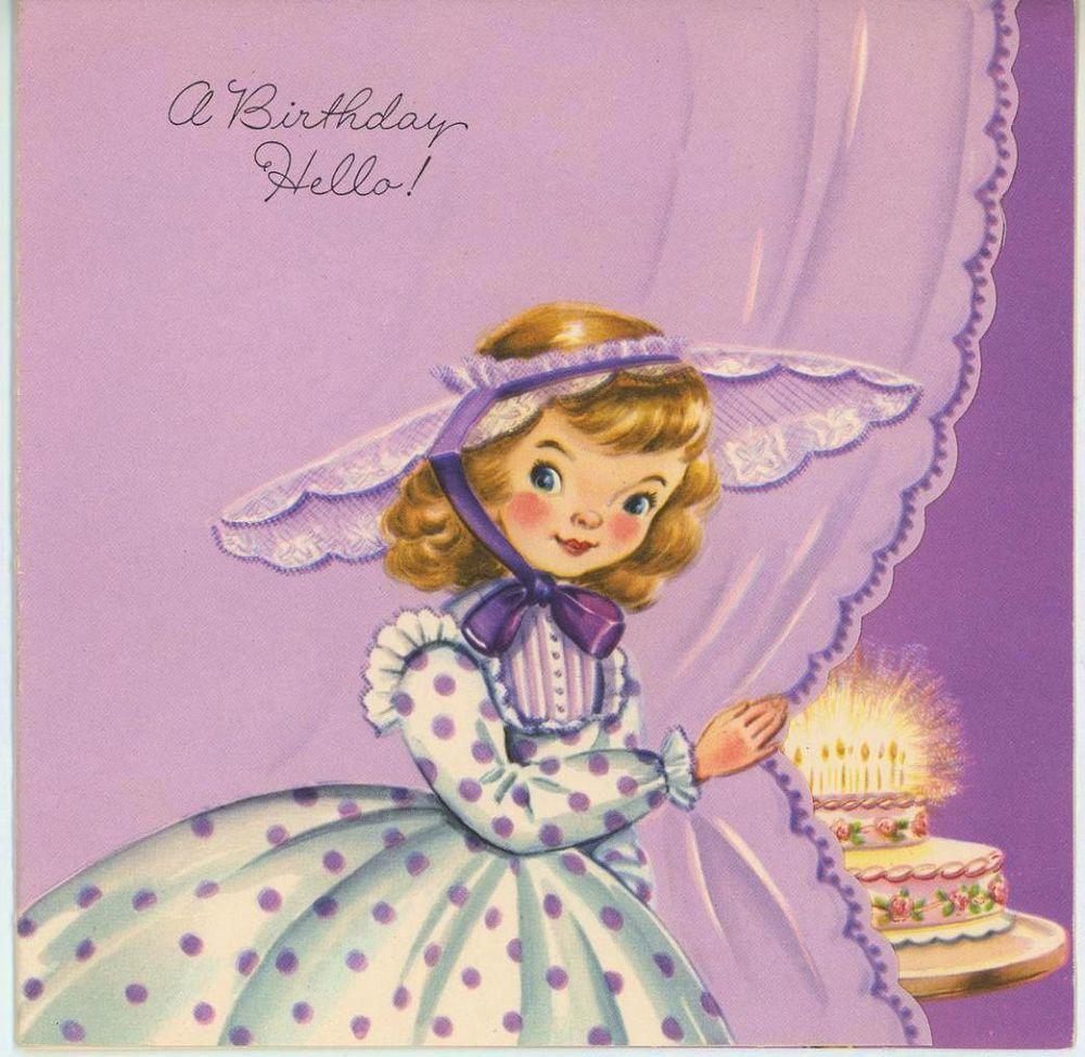 Vintage 1950s girl child purple polka dot dress lace hat birthday vintage 1950s girl child purple polka dot dress lace hat birthday card art print bookmarktalkfo Images