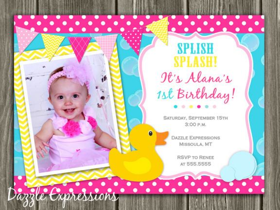Printable girl rubber duck birthday photo invitation rubber ducky printable girl rubber duck birthday photo invitation rubber ducky yellow chevron girl first filmwisefo Image collections