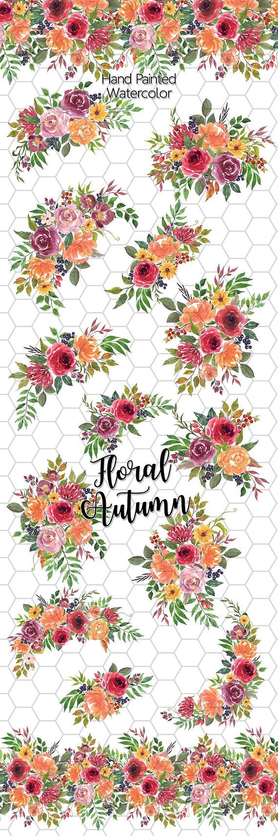 Watercolor Flower Clipart Autumn Printable Flowers Autumn Floral