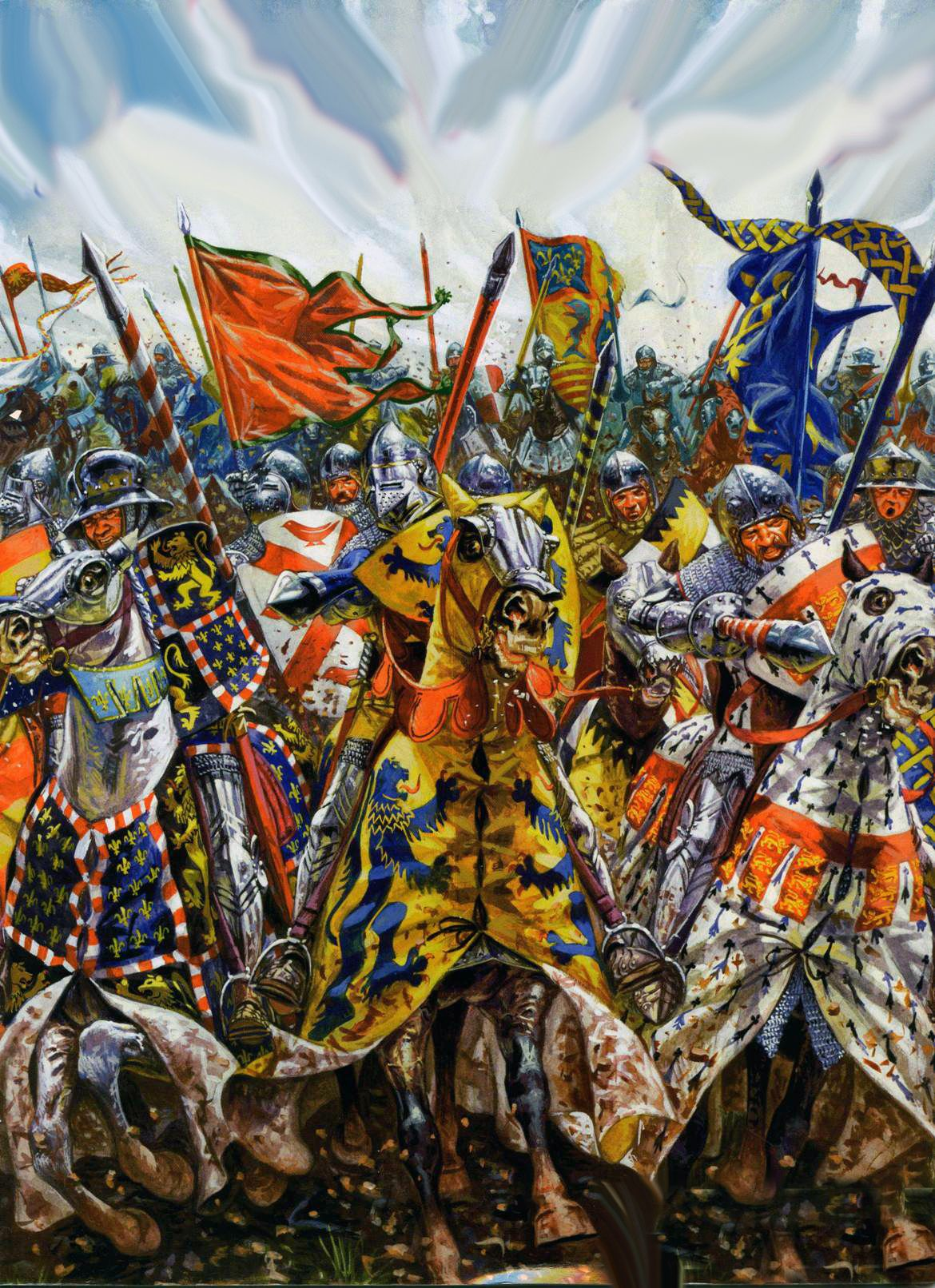 Charge Of The French Noble Knights At Agincourt Hundred