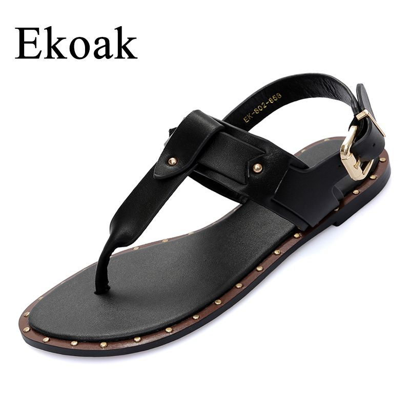 eddedbea9b4a Ekoak New 2017 Fashion Genuine Leather Sandals women Summer Ladies Dress  shoes woman Beach Shoes Flat