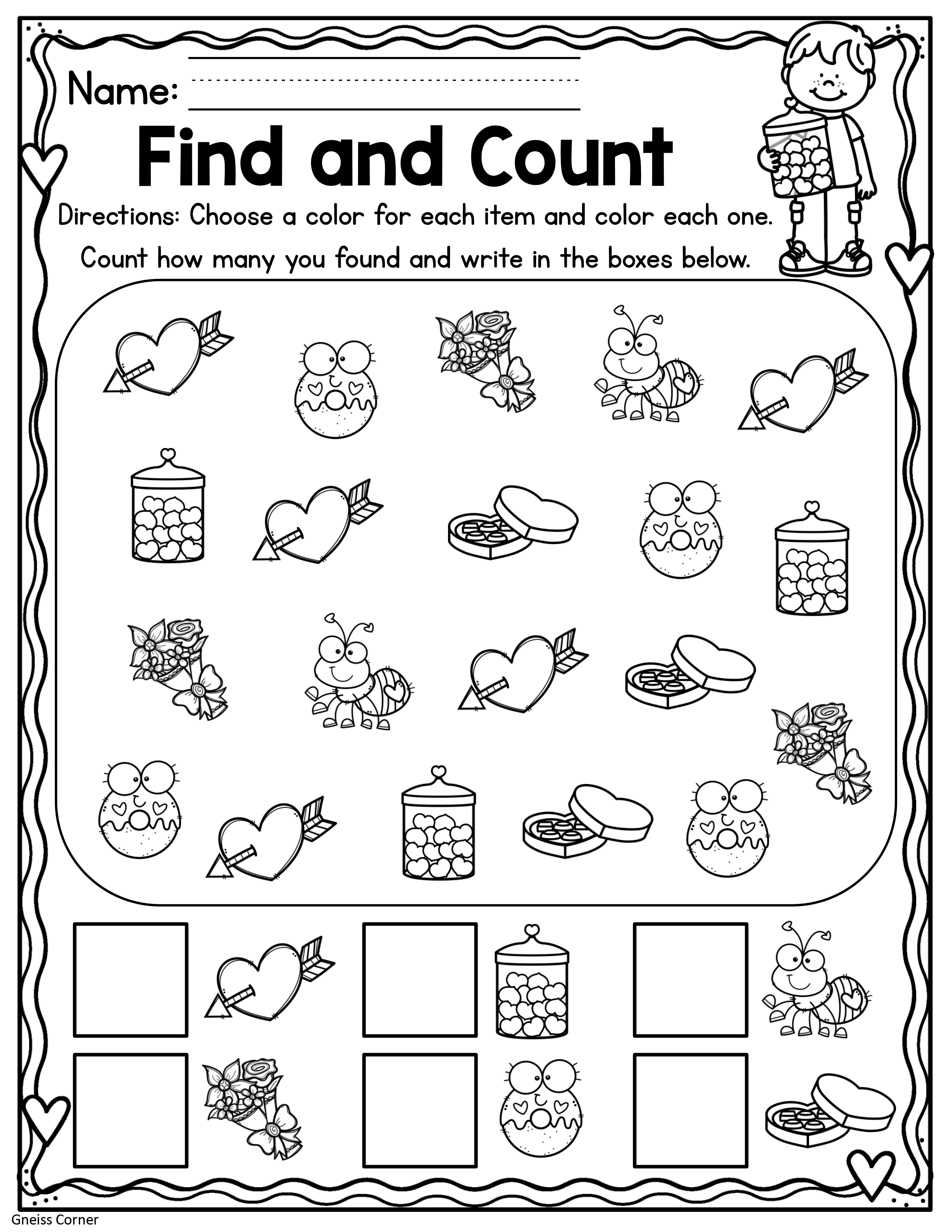 Valentines Find And Count Worksheet February In