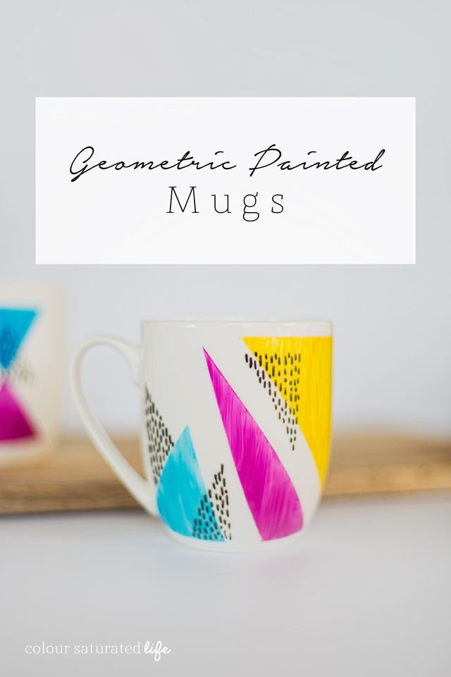Geometric Painted Mugs Painted Mugs Diy Mugs Pottery Painting