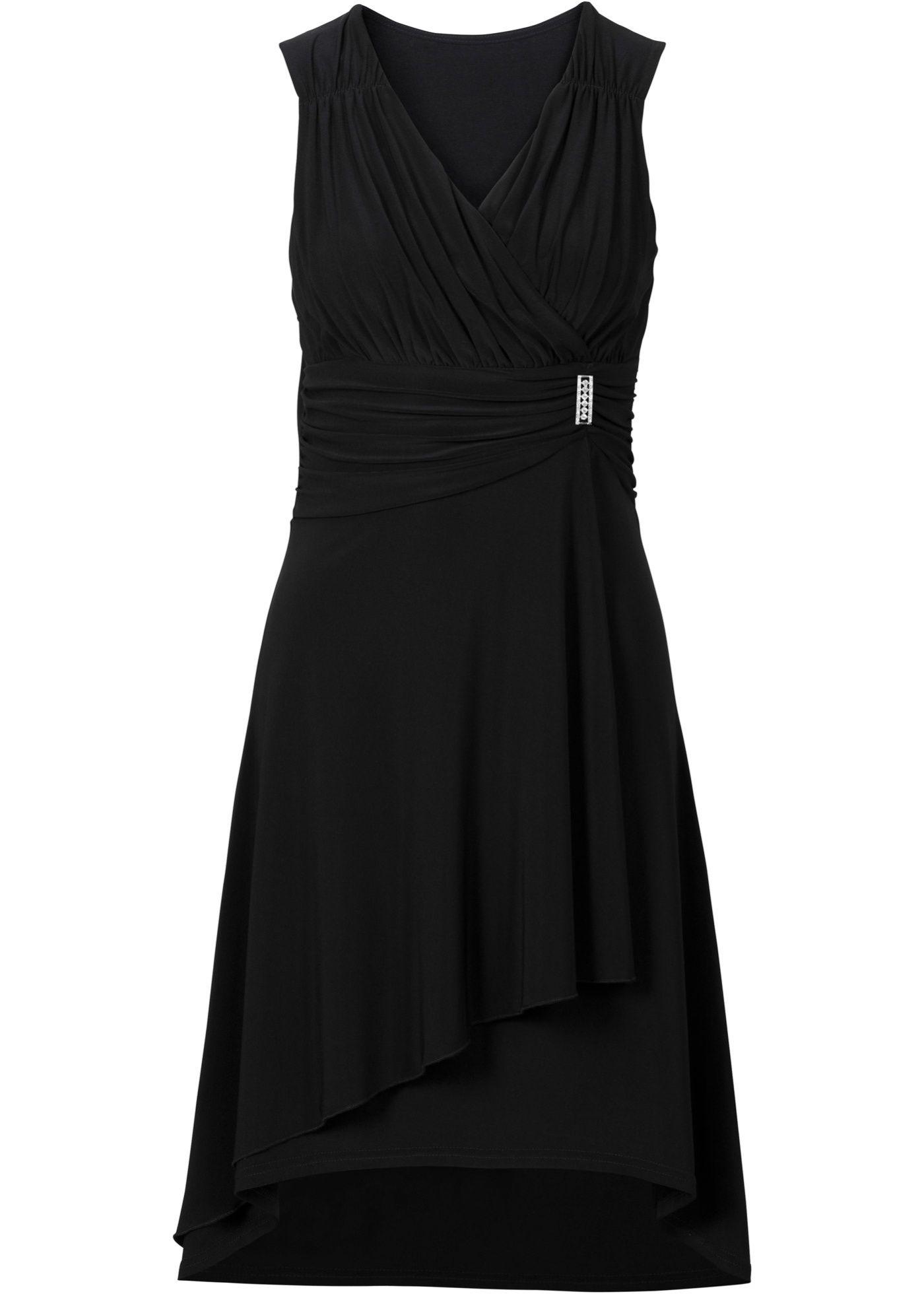 Knielanges Kleid in aufregender Wickeloptik - schwarz  Knielange