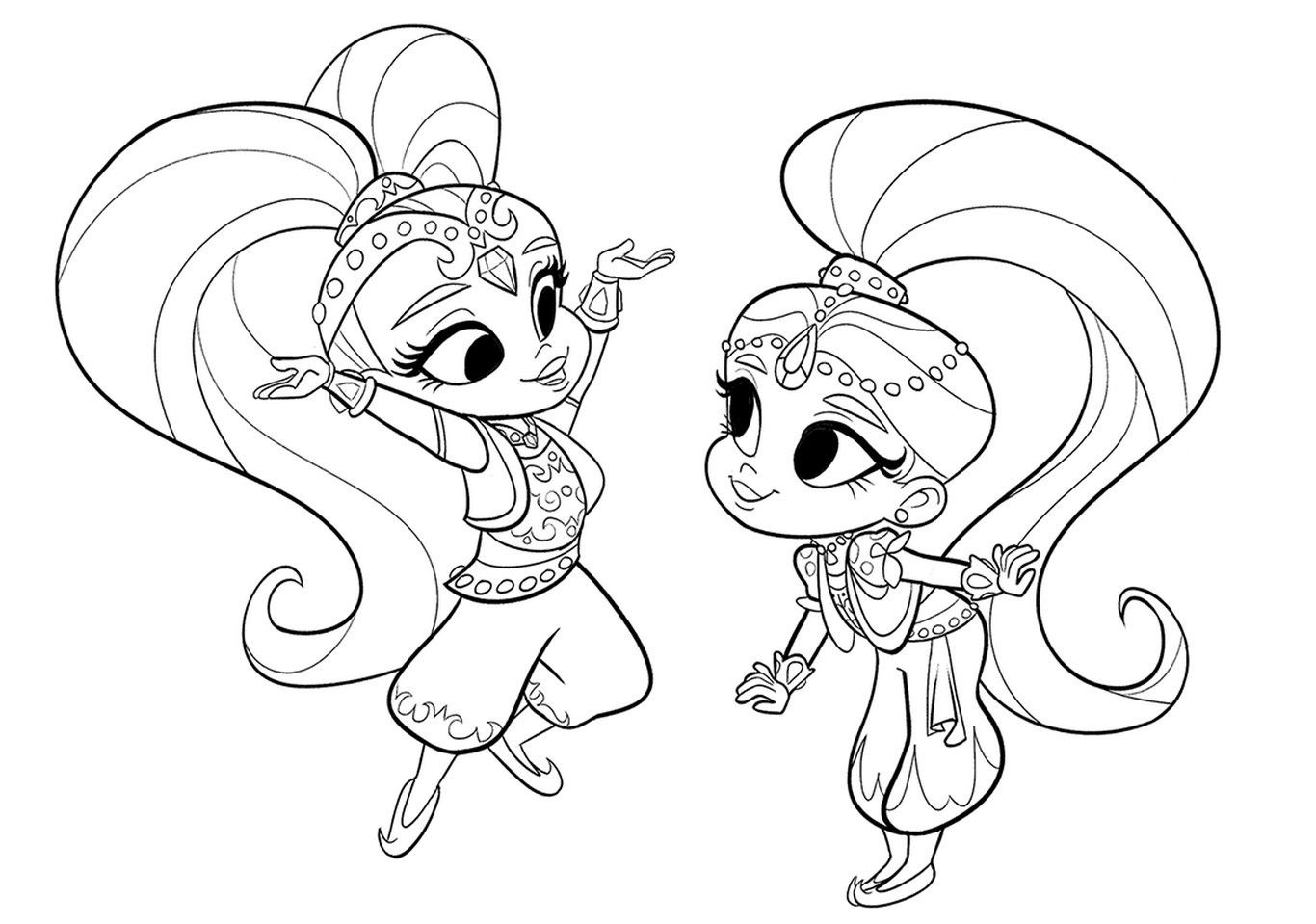 Shimmer And Shine Coloring Pages Planse De Colorat
