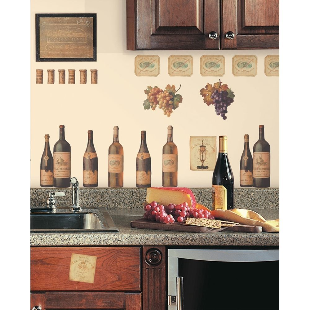 wine tasting wall decals grapes bottles new stickers kitchen decor decorations - Themes For Kitchens Decor