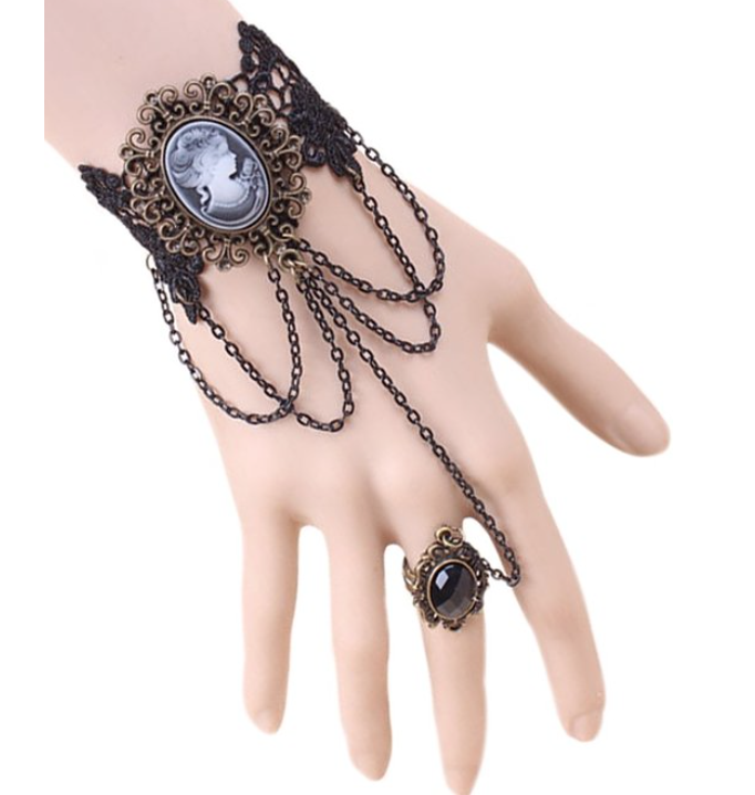 Vintage Butterfly Handmade Gothic Style Vampire Slave Bracelet with Satin Rose for Costume