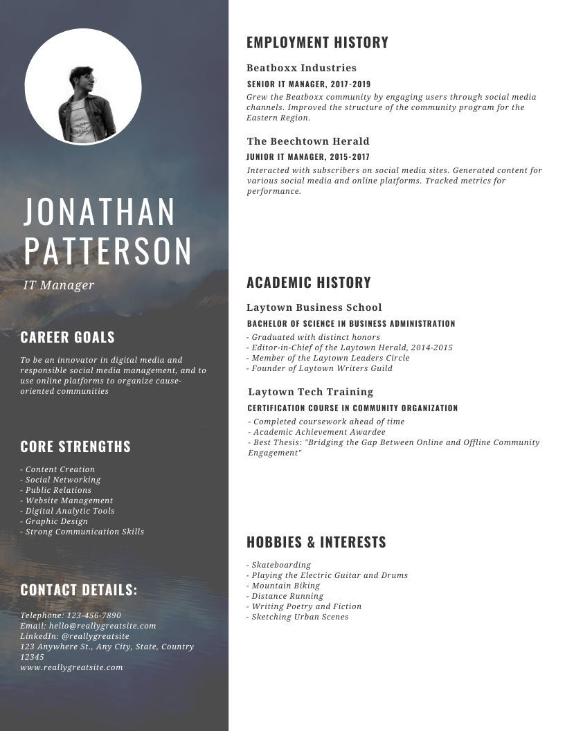 20 It Manager Resume Templates Writing Tips Onedesblog Resume Templates Resume Template Australia Media Kit Template