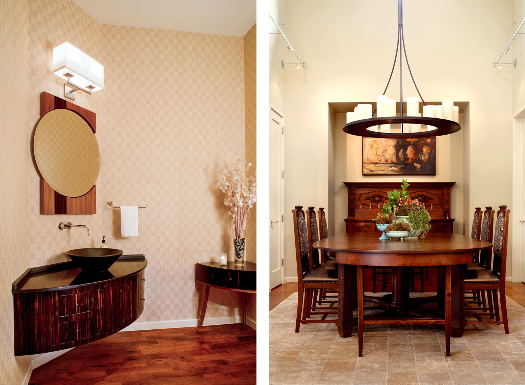 Powder Room With Custom Curved Front Vanity Round Mirror Hennche Jeffries Wallpaper Dining Antique Table And Chairs