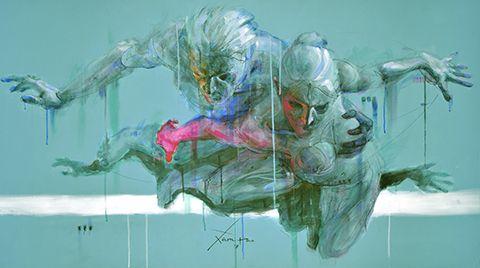 "Xolotl Polo Visual Artist  ""Dos es suficiente""  Acrílico sobre lienzo  80 x 145 cm"