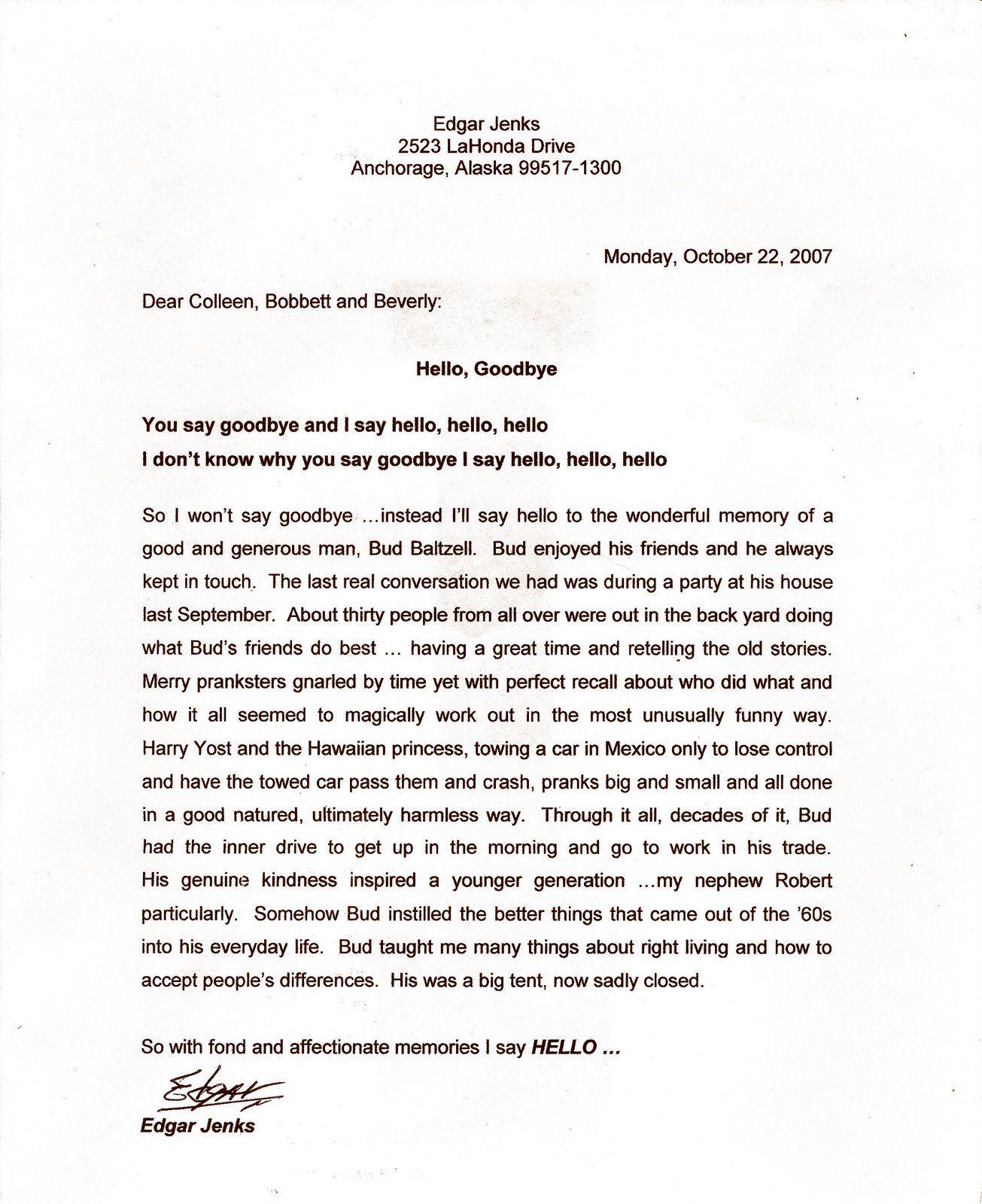 Letter From Edgar JenksGoodbye Letter Formal letter sample