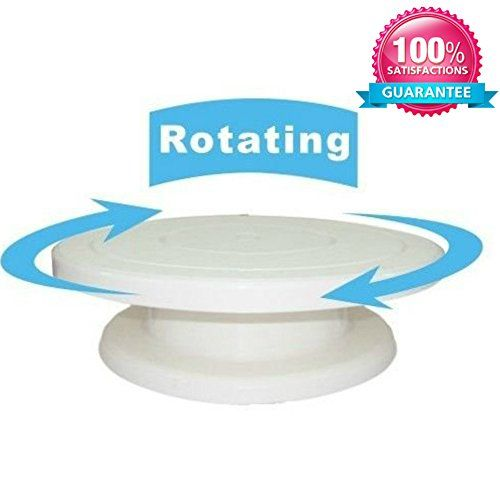 EJY White Cake Decorating Turntable Stand Plastic Sugarcraft Swivel Plate Baking Tools