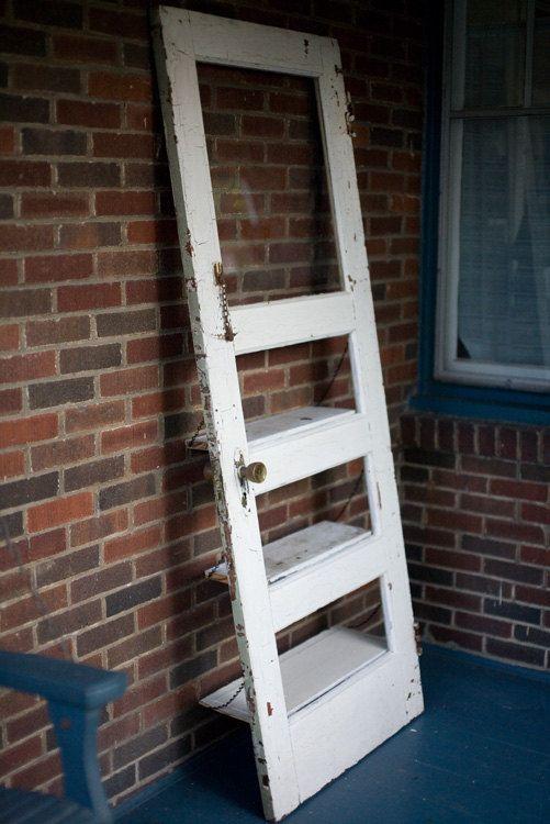 vintage door repurposed bookshelf a door by thedoorshelffactory fenster t ren. Black Bedroom Furniture Sets. Home Design Ideas