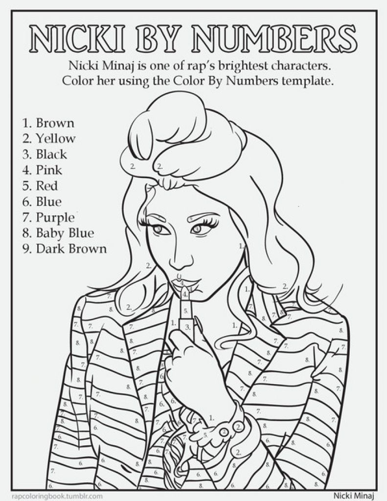 Nicki Minaj Color By Number Coloring Page Famous People Coloring