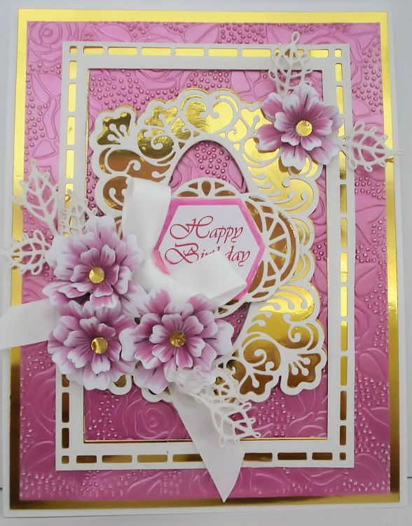 By Marjorie Ramsay Rose Blooms Embossing Folder Indian Pink Gilding Polish Lauren Frames Tags Cards Handmade Inspirational Cards Birthday Cards