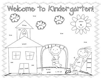 First Day Coloring Worksheet {Kindergarten} | School- fall ...