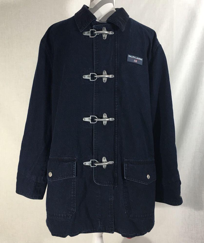 Ralph Lauren Polo Sport Large Denim Fireman Barn Chore Coat Jacket Jaket Fleece Silver Misty Poloralphlauren Basicjacket