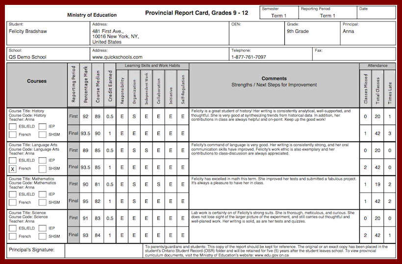 The Ontario Province Report Card Template School Management Report Card Template School Report Card Report Card