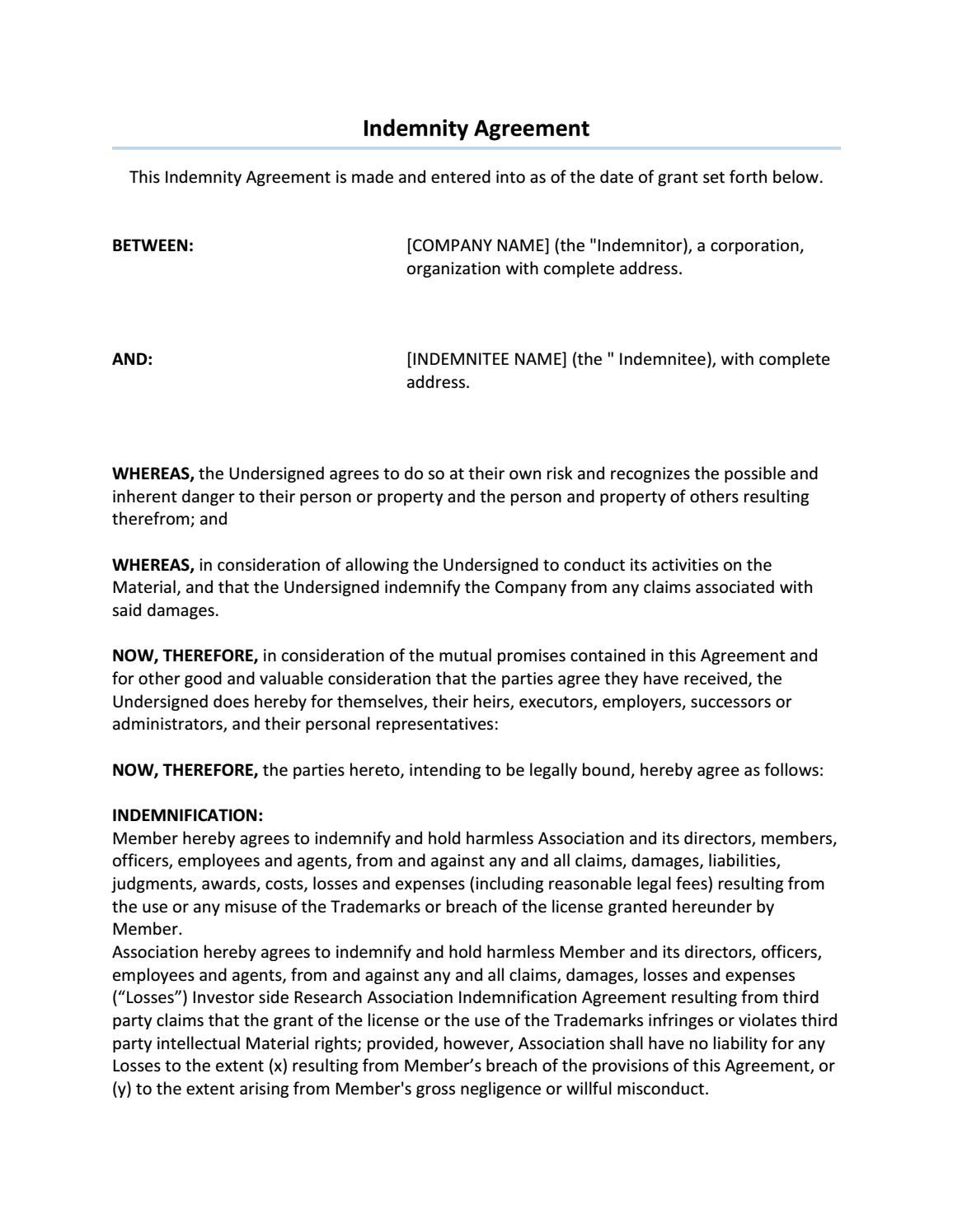 Pinterest  Indemnity Agreement Template