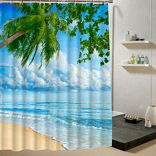 Fabric Shower Curtain Beach Scene Waterproof Bathroom Cur Https