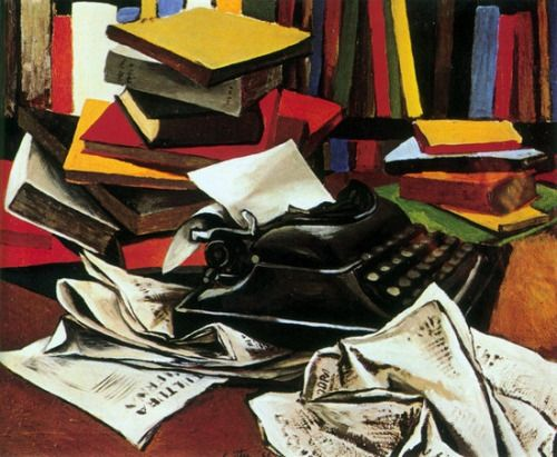 Still Life with typewriter by Renato Guttuso (1951). The typewriter is an Art Deco inspired Remington No. 5