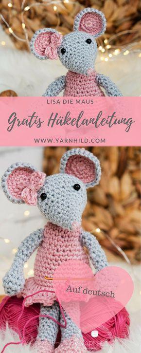 Lisa - eine häkelmaus - Gratis häkelanletung - Yarnhild.com #knittedtoys