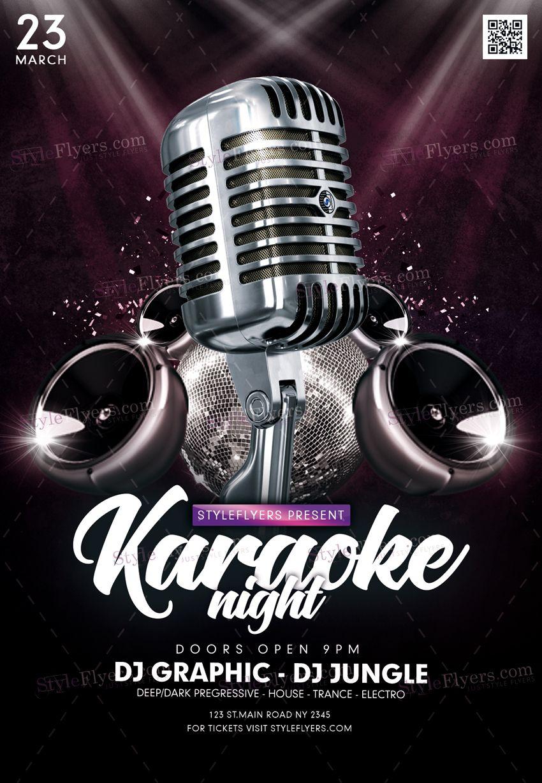 Karaoke Psd Flyer Template Karaoke Logotip Brending Bar