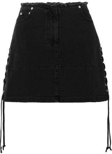 86d2b22b00 McQ Alexander McQueen - Lace-up Denim Mini Skirt - Black | Fashion ...
