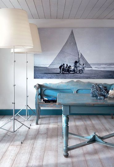 Une d co 100 bord de mer esprit marin tout en bleu et for Decoration bord de mer bleu