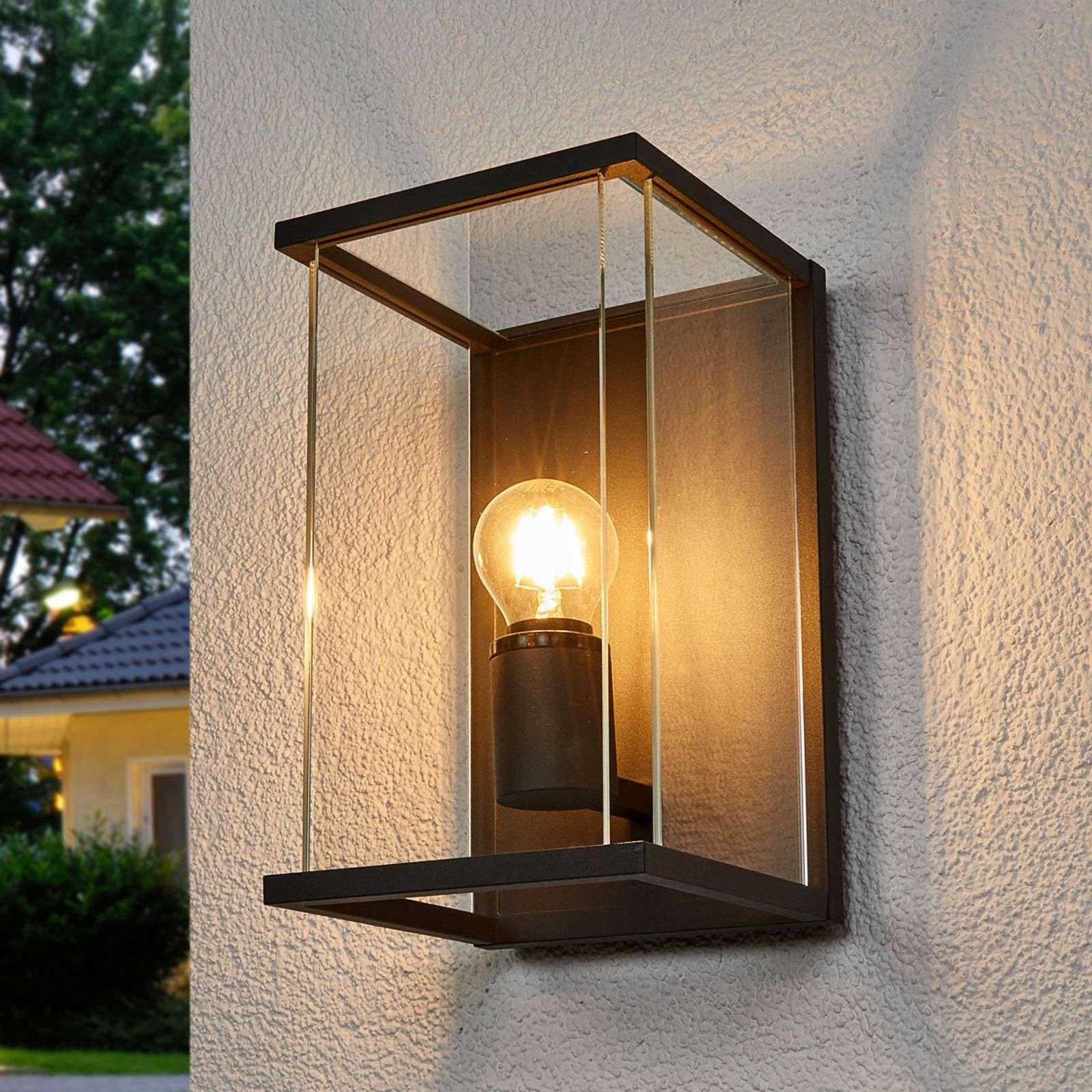 Vintage Glas Strahler Steh Leuchte Außen Laterne Veranda ALU Balkon GOLD schwarz