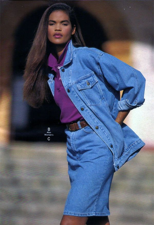 Denim skirt and shirt from the 1990s. Skirt was just a little bit over the knee. | 1990s ...