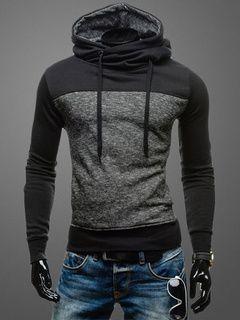 Cordón con capucha de algodón de bloque Color de la sudadera con capucha  para hombres f9b2a56e29c4d