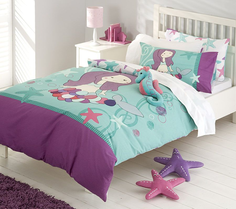 Mermaid bedding in purple turquoise tones under the for Room decor under 20