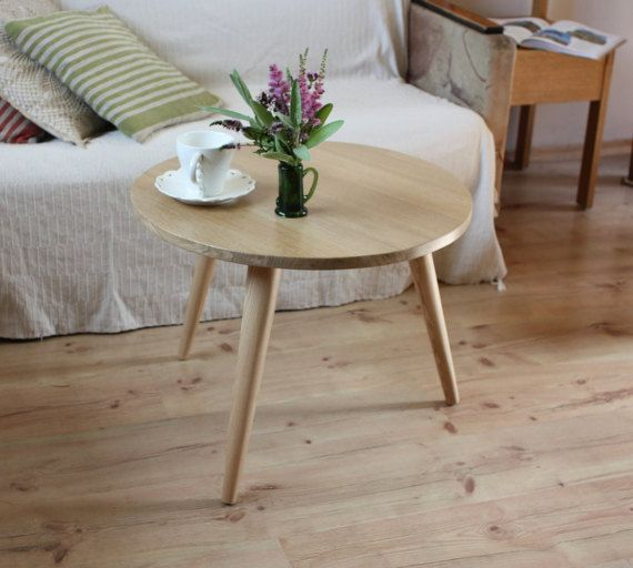 Three Legged Bamboo End Table From Stndrd Bull Modern Round