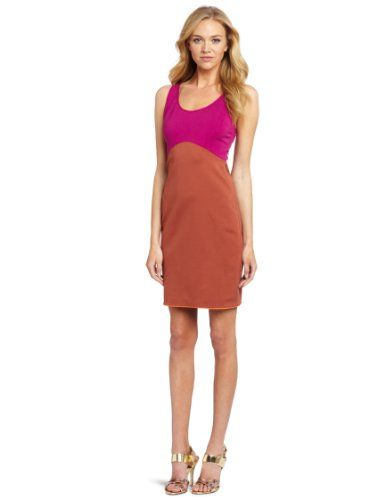 HALSTON HERITAGE Women's Sleeveless Color Blocked Ponte Dress, Bright Magenta/Spice, 10 | Traveling Of Life
