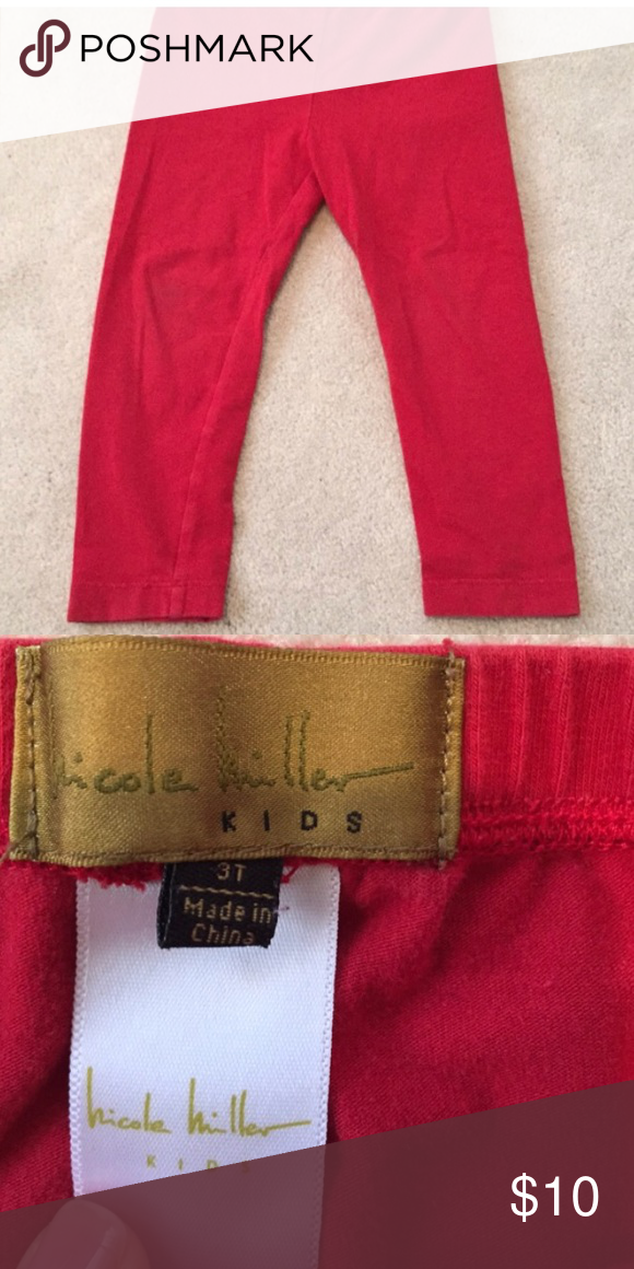 Girls Nicole Miller Leggings Red.  Excellent condition.  3T Nicole Miller Bottoms Leggings