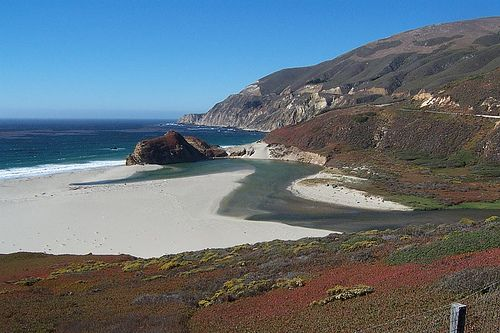 Big Sur River emptying into the Pacific Ocean by mwpjlp, via Flickr