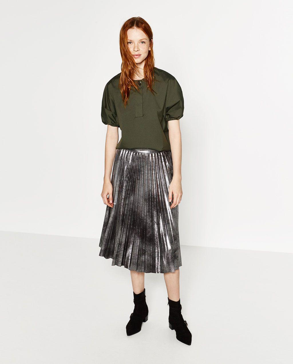 metallic accordion pleat skirt midi skirts zara