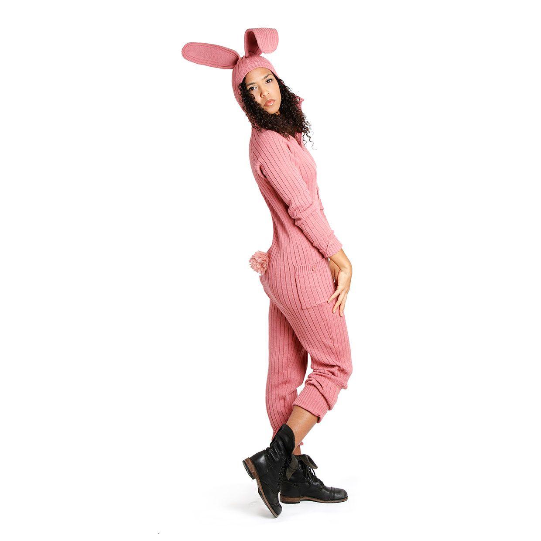 2ba306619c8e Adult Onesie Jumpsuit for Men and Women. Knit Cotton Pink Bunny Suit. Rabbit  Kigurumi Costume. Playful Pajamas.