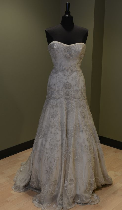LAZARO BRIDAL -- ORIGINAL PRICE $ 5742.00 BEADED & EMBROIDERED FIT-N-FLARE GOWN W/ CIRCLE SKIRT