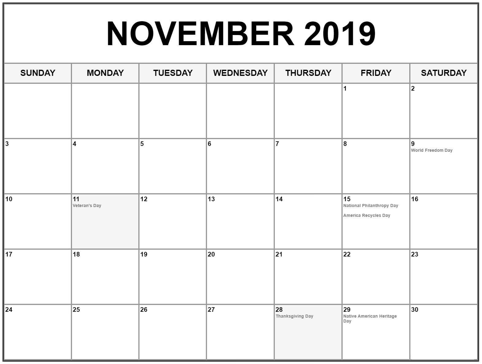 Holidays Calendar For November Printable Template