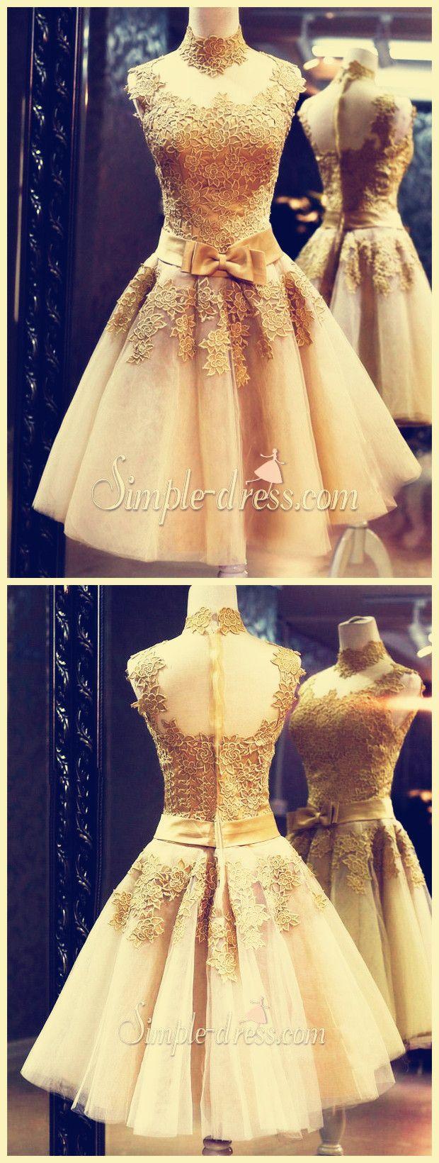 Short Prom Dress,Gold Prom Dress,Prom Dress 2016,A-Line Prom Dress,Knee-Length Prom Dress