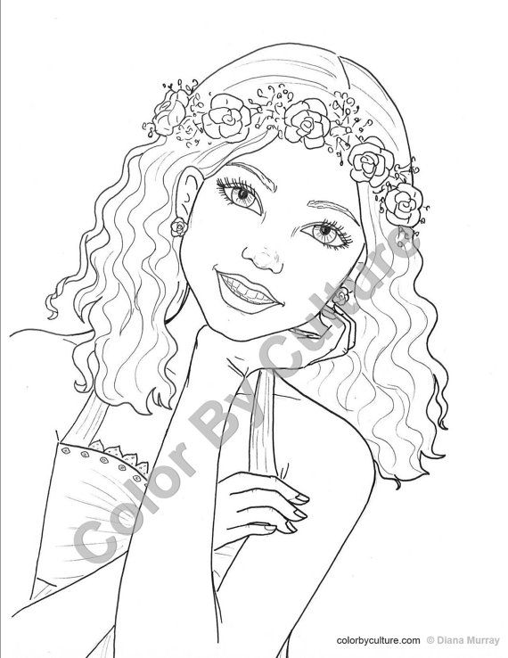 fashion coloring page girl with flower wreath coloring page printable coloring page teen - Coloring Pages Teenagers Girls