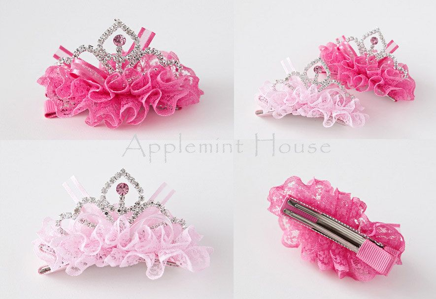 Cute Crystal Lace Rhinestone Crown Hair Clip Pearl Hairpin