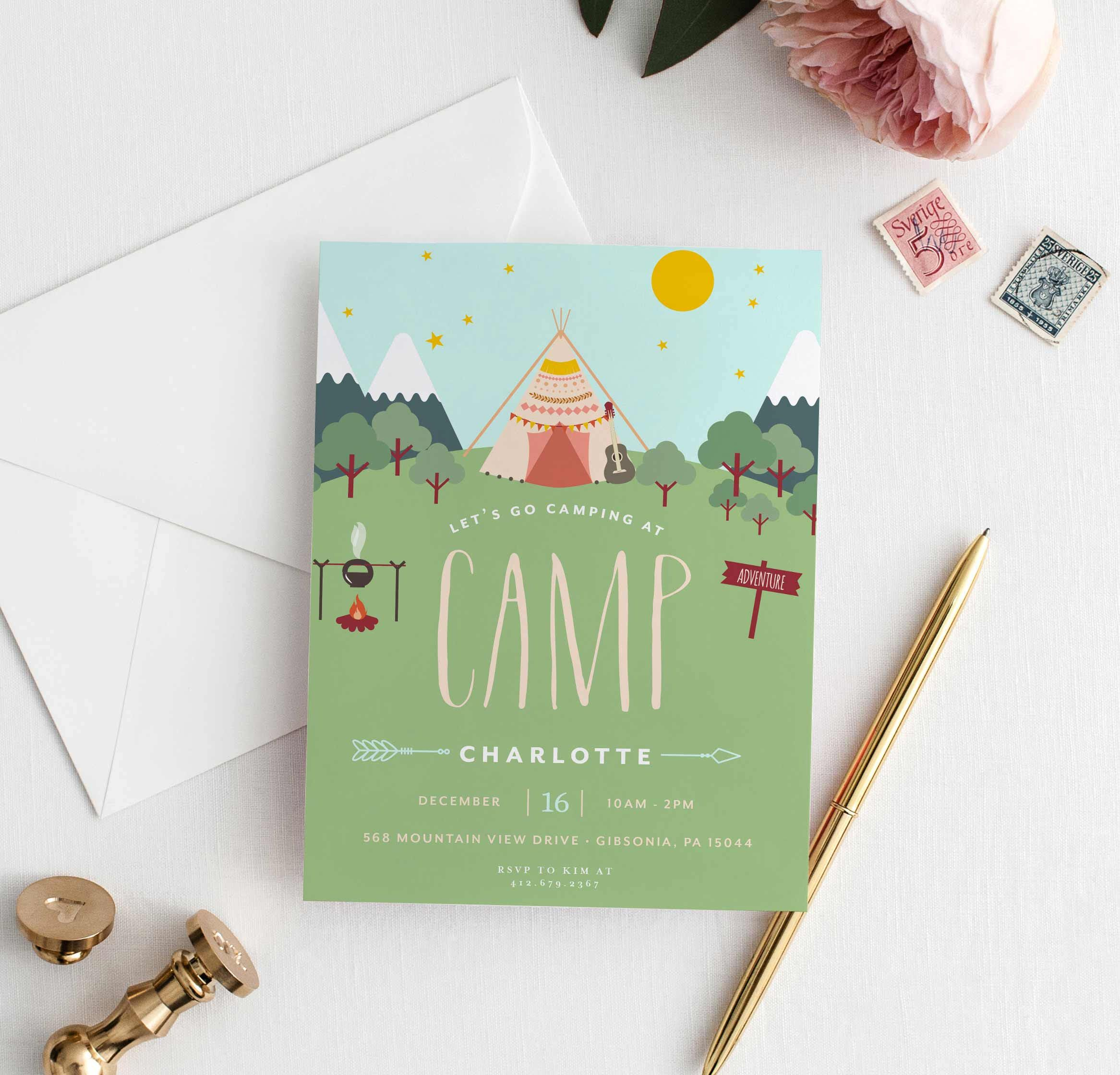 Camping Party Invitations for Girls, Camping Birthday Invitations ...