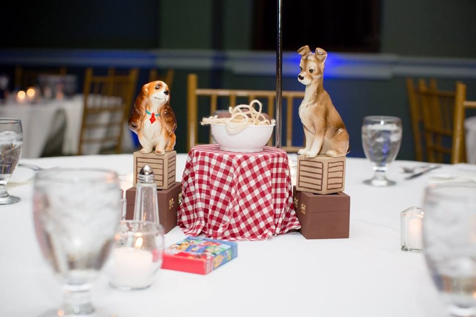 Lady And The Tramp Disney Themed Bridal Shower Disney Centerpieces Disney Inspired Wedding