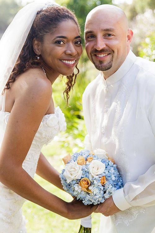 She's black, he's 3/4 white, 1/4 Filipino.