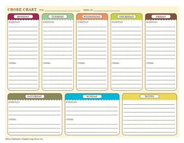 Free Printable Chore Charts for Kids and the Whole Family Weekly - chores schedule template